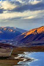 Casa lago, montañas, carretera, pueblo, Sichuan, China