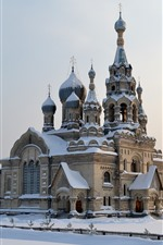 Preview iPhone wallpaper Cathedral, snow, winter, Russia