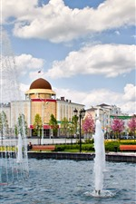 Preview iPhone wallpaper Chechnya, city, buildings, flowers, fountain, clouds