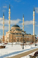 Preview iPhone wallpaper Chechnya, mosque, snow, winter, city
