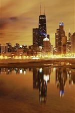 Preview iPhone wallpaper Chicago, skyscrapers, sea, coast, lights, night, USA
