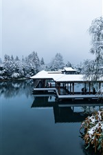 Preview iPhone wallpaper China, Hangzhou, park, snow, trees, lake, people, winter