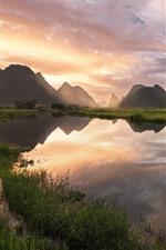 China, campo, río, montañas, nubes, reflejo de agua, mañana
