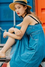 Preview iPhone wallpaper Chinese girl, denim skirt, hat, sit