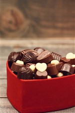 Preview iPhone wallpaper Chocolate candy, love heart box, red roses, romantic