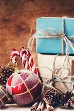 Bolas de Natal, presentes, decoração, still life