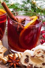 Natal, xícaras, chá, biscoitos, bolas, bagas, decoração