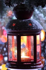 Preview iPhone wallpaper Christmas, lantern, snow, night