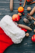 Meia de Natal, maçãs, laranjas, decoração
