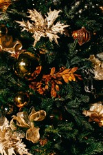 Árvore de natal, bolas, decoração
