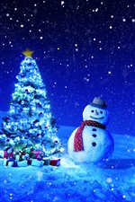 Preview iPhone wallpaper Christmas tree, gifts, snowman, winter, snow, starry, night