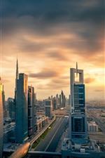 Preview iPhone wallpaper City at sunset, skyscrapers, Dubai, UAE