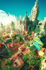 City, castle, 3D design