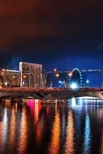 City, night, bridge, river, buildings, lights, illumination