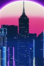 City, skyscrapers, moon, night, art picture