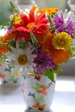 Colorful flowers, bouquet, vase, still life