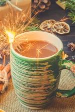 Xícara, café, faíscas, presente, doces, Ano Novo