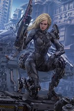Preview iPhone wallpaper Cyborg, blonde girl, weapon, city, fantasy art