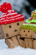 Preview iPhone wallpaper Danbo, hat, snow, winter
