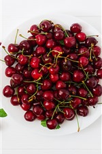 Preview iPhone wallpaper Delicious cherries, fruit, plate