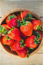 Preview iPhone wallpaper Delicious fresh strawberry, bowl, wood board
