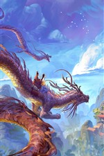 Preview iPhone wallpaper Dragon, mountains, buildings, clouds, art drawing