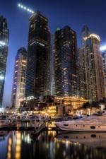 Dubai, emirates, cidade, arranha-céus, noturna, luzes, barcos, cais