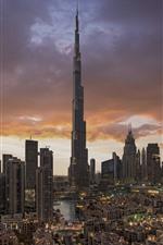 Preview iPhone wallpaper Dubai, UAE, cityscape, skyscrapers, city, clouds, dusk