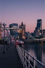 Preview iPhone wallpaper England, London, Thames River, Tower Bridge, city, dawn, lights, street