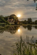 Preview iPhone wallpaper England, river, house, trees, village, sun
