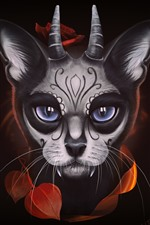Preview iPhone wallpaper Fantasy animal, face, eyes, horns, black background