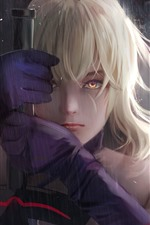 Fantasia menina loira, chuva, espada