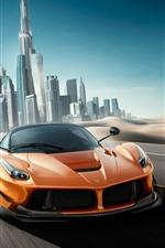 Preview iPhone wallpaper Ferrari orange supercar speed, Dubai