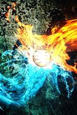 iPhone fondos de pantalla Fuego y agua, pelota, fotografía creativa.