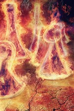 Preview iPhone wallpaper Fire, flame, chess