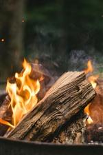 Preview iPhone wallpaper Firewood, fire, flame, bonfire