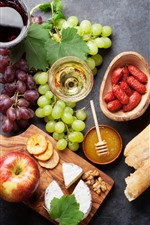 Food, grapes, apple, cheese, bread, sausage, wine
