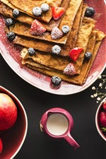 Preview iPhone wallpaper Food, pancakes, strawberry, apples, pear, gerbera