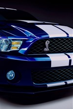 Preview iPhone wallpaper Ford Mustang blue car front view, headlight