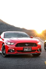 Preview iPhone wallpaper Ford Mustang red and yellow cars, road, sun rays
