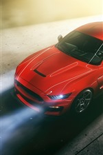 Preview iPhone wallpaper Ford Mustang red car top view, headlight