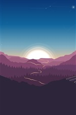 Preview iPhone wallpaper Forest, trees, sunset, art picture