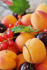 Preview iPhone wallpaper Fruit, apricots, cherries, red currants