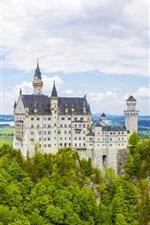 Germany, Neuschwanstein, castle, trees, clouds, spring
