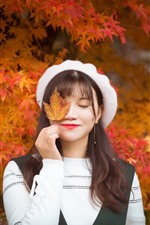 Preview iPhone wallpaper Girl, close eyes, smile, red maple leaves, autumn