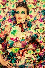 Girl, makeup, flowers background, art photography