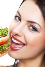 Preview iPhone wallpaper Girl want to eat hamburger