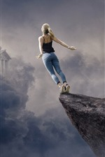 Preview iPhone wallpaper Girl want to fly, clouds, castle, creative picture