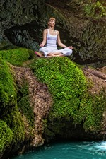 Preview iPhone wallpaper Girl, yoga, stream, green, moss