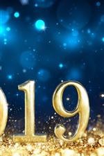 iPhone fondos de pantalla Oro 2019 Año Nuevo, brillo.